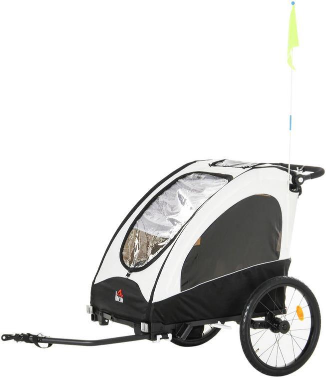 Homcom 2 in 1 Fahrradanhänger für 2 Kinder in Schwarz/Weiß für 175,99€ (statt 208€)