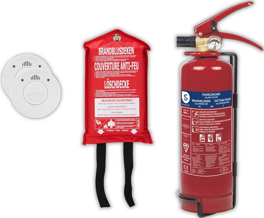Smartwares Brandschutz Set   Rauchmelder, Löschdecke und Feuerlöscher für 28,90€ (statt 40€)