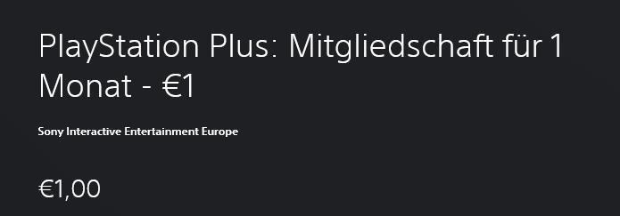 Playstation Plus Mitgliedschaft für nur 1€ (statt 8,99€)