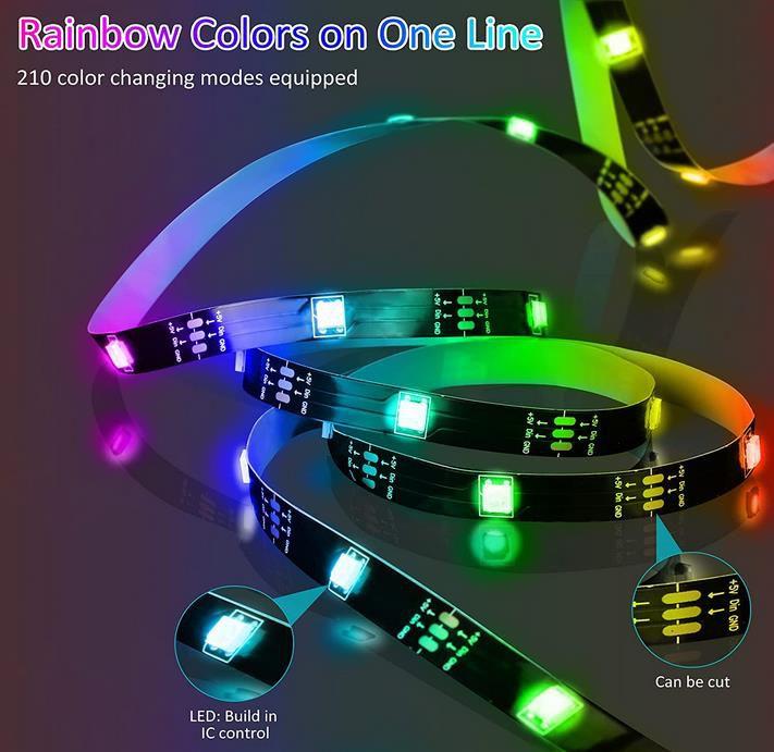 RGBIC 5 Meter USB LED Light Strip mit Fernbedienung und APP für 9,99€ (statt 20€)