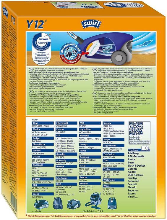 Swirl Y 104 MicroPor Plus Staubsaugerbeutel für Clatronic, Dirt Devil, Zelmer Staubsauger für 3,68€ (statt 7€)