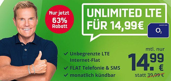 🔥 o2 Unlimited Smart mit unendlich LTE (10 Mbit/s) + Allnet Flat für 14,99€ mtl.   jederzeit kündbar!