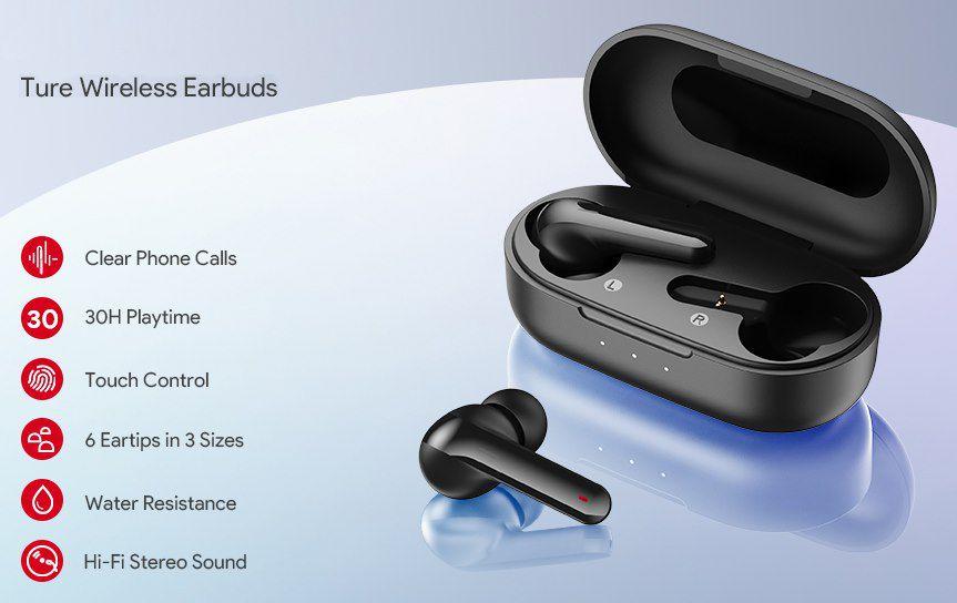 Aukey T05 TWS InEar Kopfhörer mit Bluetooth 5.0 & bis zu 5h Wiedergabe für 18,59€ (statt 31€)