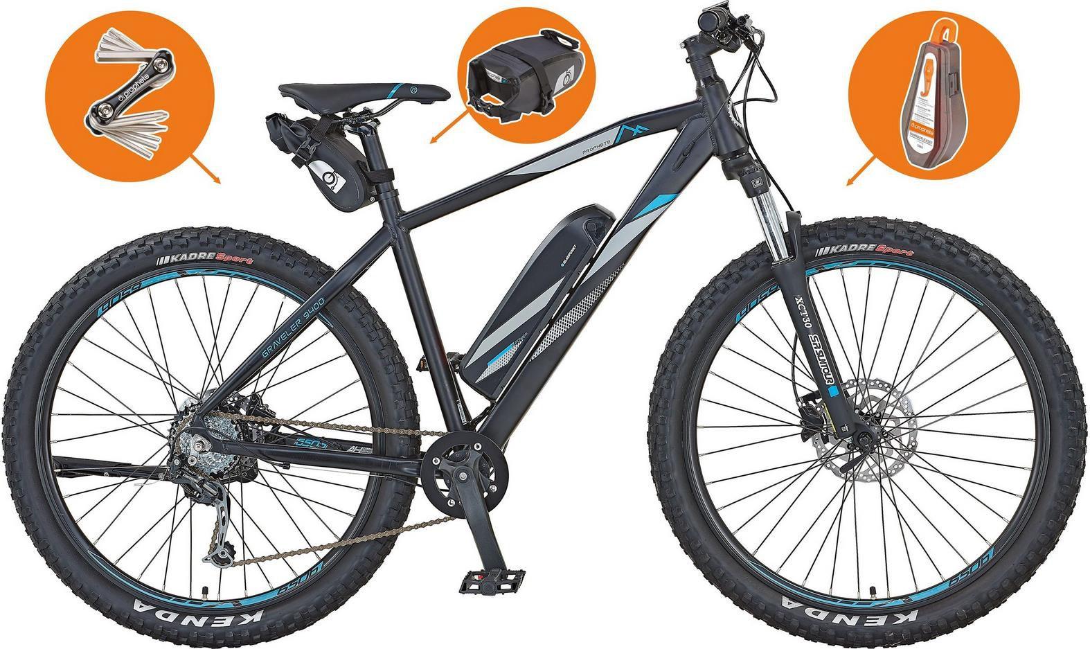 Prophete E Bike Graveler e9400, 8 Gang Shimano, Heckmotor 250 W, inkl. Pannenset und Tasche für 1.308,95€ (statt 1.898€)