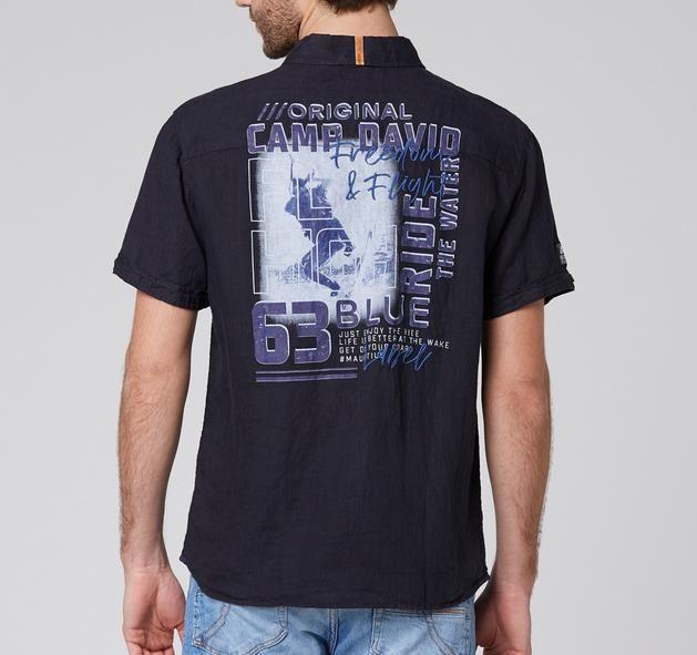 Camp David Leinenhemd mit Rücken Artwork in blau für 38,43€ (statt 46€)