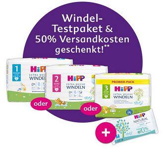 Mit dem HiPP Mein BabyClub gratis Windel Testpaket + Feuchttücher + 2,48€ VSK
