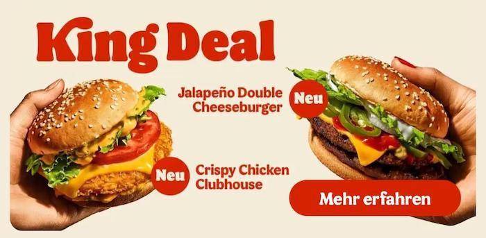 King Deal: Crispy Chicken Clubhouse oder Jalapeño Double Cheeseburger für 1,99€   auch ohne App Gutschein in der Filiale