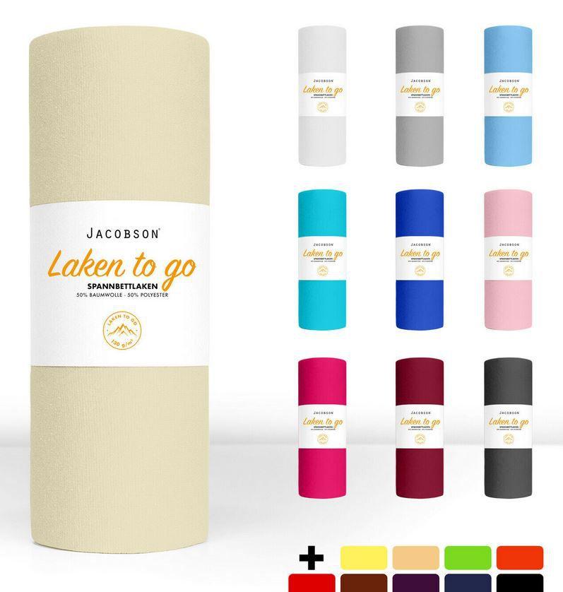 """""""Laken to go"""" Jersey Spannbettlaken div. Farben u. Größen ab 5,99€ (statt 11€)"""
