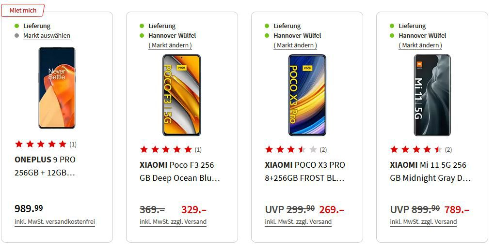 Media Markt & Saturn Smartphone Fieber   z.B. REALME GT 5G 256GB für 389€ (statt 549€)