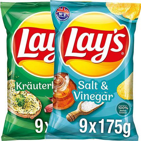 9x 175g Lay's Salt & Vinegar oder Kräuterbutter Kartoffelchips für je 6,41€ (statt 14€) – Sparabo