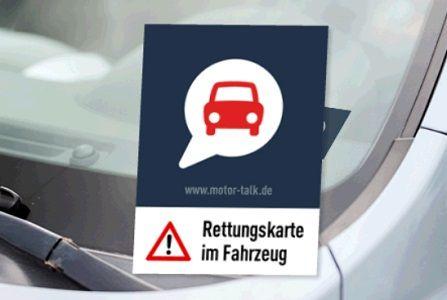Kostenlose Rettungskarte fürs Auto