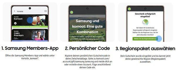 Mit dem Samsung Galaxy ein Regionenpaket bei komoot gratis abfassen