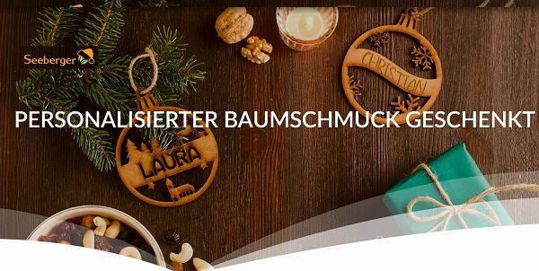 Drei Seeberger Produkte kaufen   Personalisierten Baumschmuck gratis erhalten