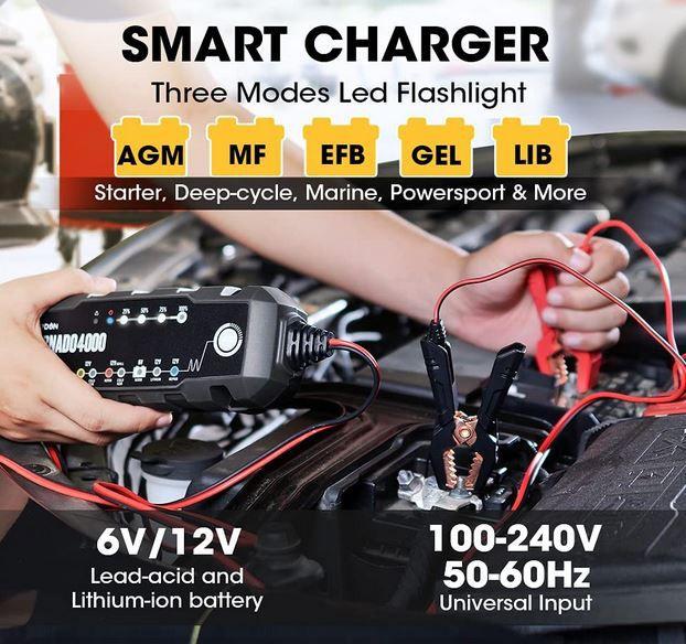 TOPDON T4000 Autobatterie Ladegerät max. 4A für 36,79€ (statt 56€)