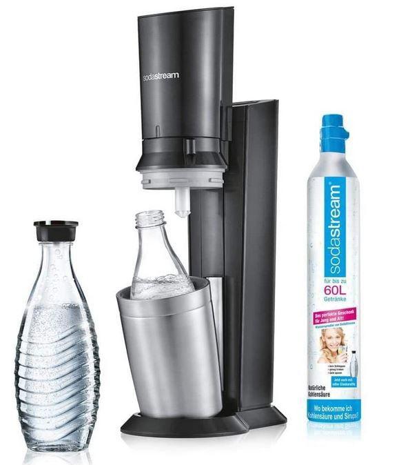 SodaStream Crystal 2.0 + 2 Glaskaraffen & Zylinder für 79,99€ (statt 89€)
