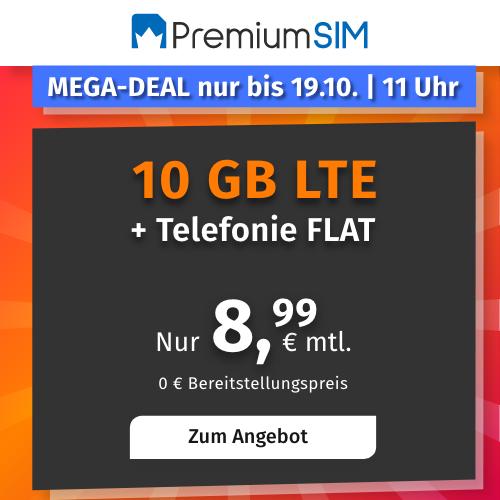PremiumSIM o2 Allnet Flat mit 10GB LTE für 8,99€ mtl.   auch ohne Laufzeit buchbar