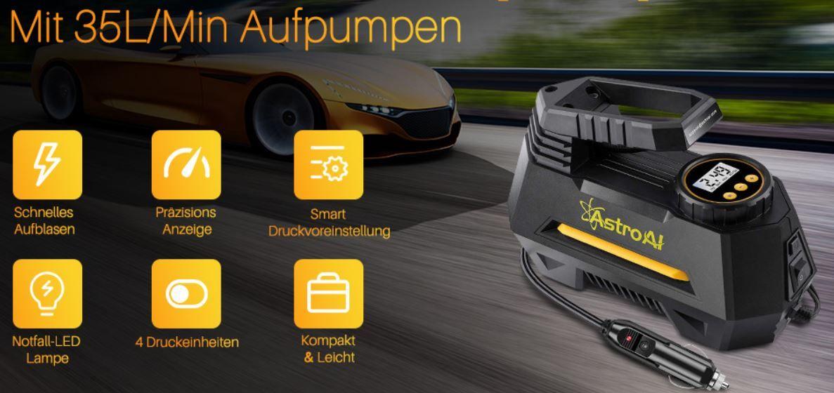AstroAI mobiler 12V Luftkompressor Auto, Motor  Fahrrad & Co. für 20,99€ (statt 30€)