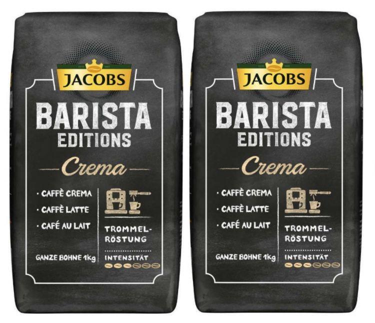 2kg Jacobs Kaffeebohnen Barista Editions Crema Bohnen + Jacobs Barista Becher für 19,98€