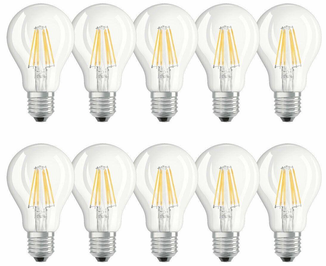 10x Osram LED Filament Leuchtmittel Birnenform 6W E27 für 8,99€ (statt 19€)