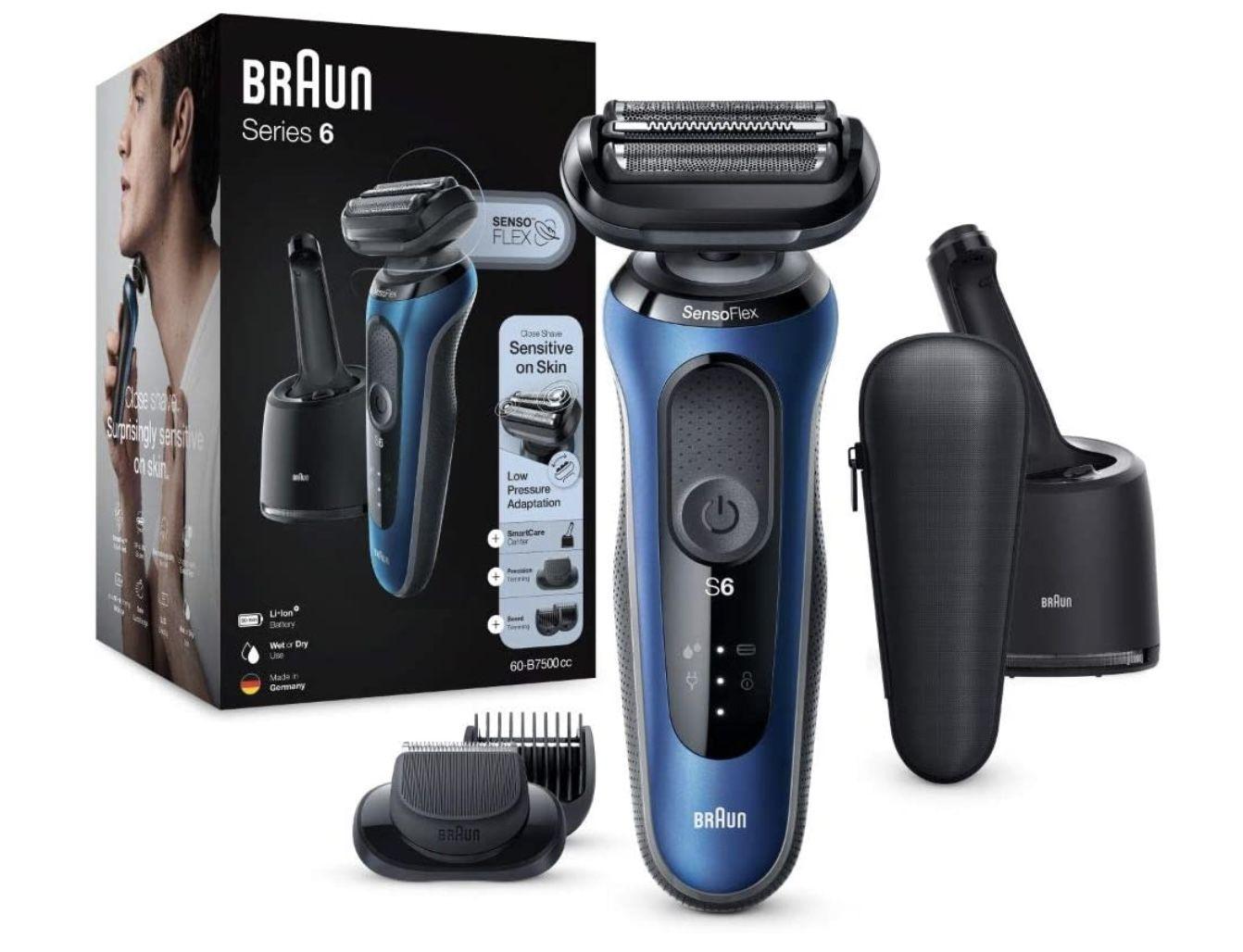 Braun Series 6cc Sensitiver Herren Rasierer & Barttrimmer mit Reinigungsstation für 124,99€ (statt 154€)