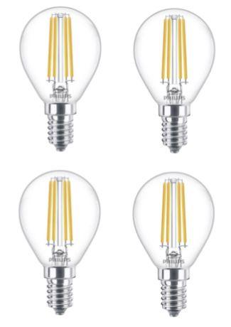 4er Pack Philips E14 LED 6.5W Leuchtmittel für 8,99€