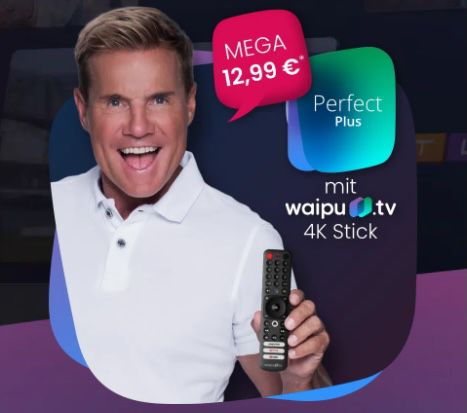 12 Monate waipu TV Perfect Plus inkl. Pay-TV Sender für 12,99€ mtl. (statt 15,99€) + GRATIS waipu 4K TV Stick