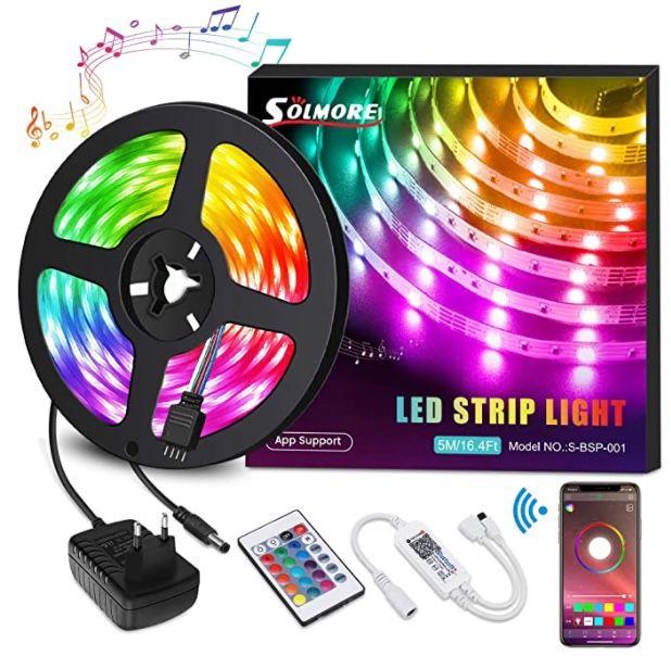 Solmore 5 Meter RGB LED Strip mit Fernbedienung für 7,99€(statt 20€) – Prime