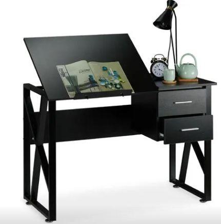 Relaxdays Schreibtisch neigbar mit verstellbarer Arbeitsfläche 75x110x55cm für 49,90€ (statt 150€)