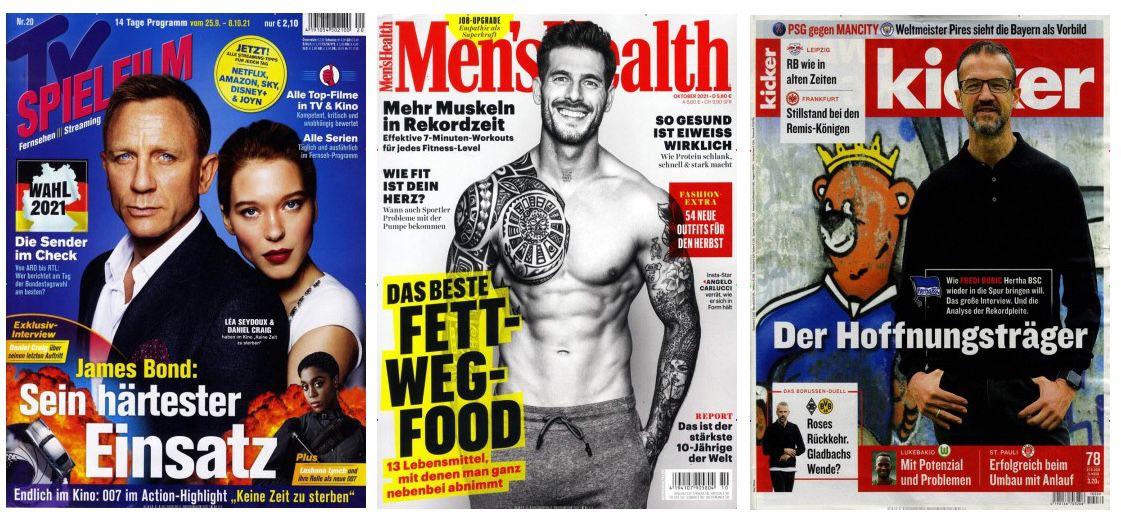 KNALLER! 🔥 6 Monats Zeitschriftenabos für nur 1€   z.B. 12 Ausgaben Kicker für 1€ (statt 148€)