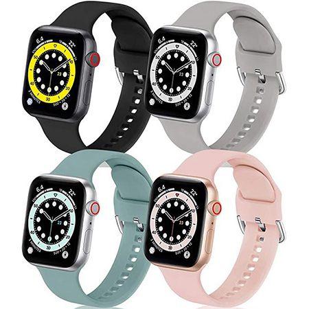 4er Pack BesBand Silikon Armband – Kompatibel mit Apple Watch 40/38/42/44mm für 3,89€ (statt 13€)