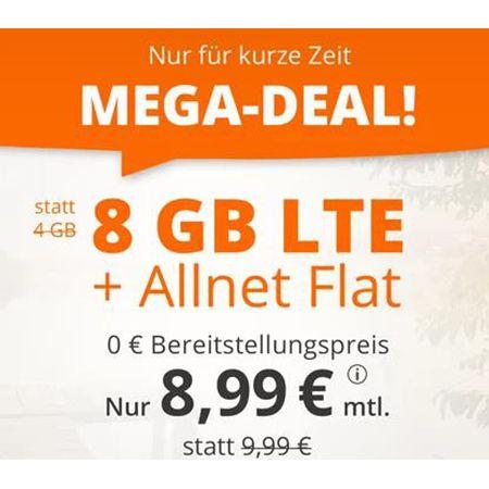 Sim.de: o2 Tarif mit 8GB LTE + Allnet-Flat für 8,99€ mtl. – auch ohne Laufzeit buchbar