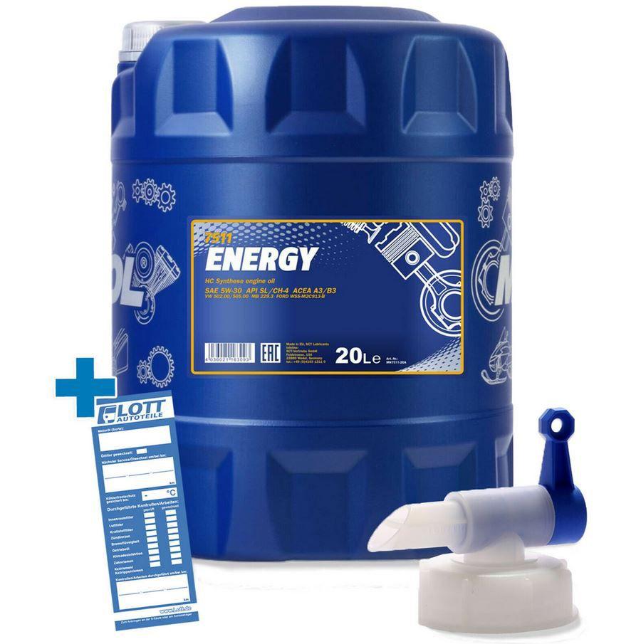 MANNOL 5W 30 Energy 20l (!) Motoröl + Hahn für 50,99€ (statt 58€)