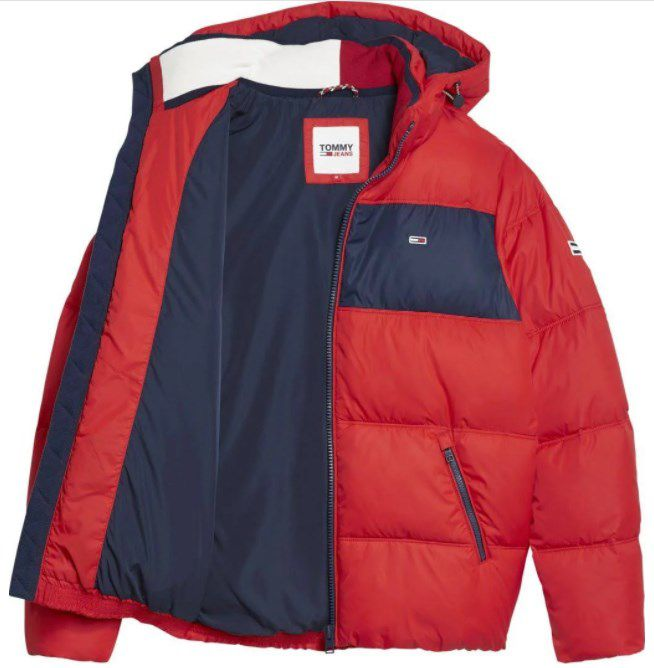 Tommy Hilfiger   Tommy Jeans Colorblock Padded Jacket in Rot ab 120,24€ (statt 172€)