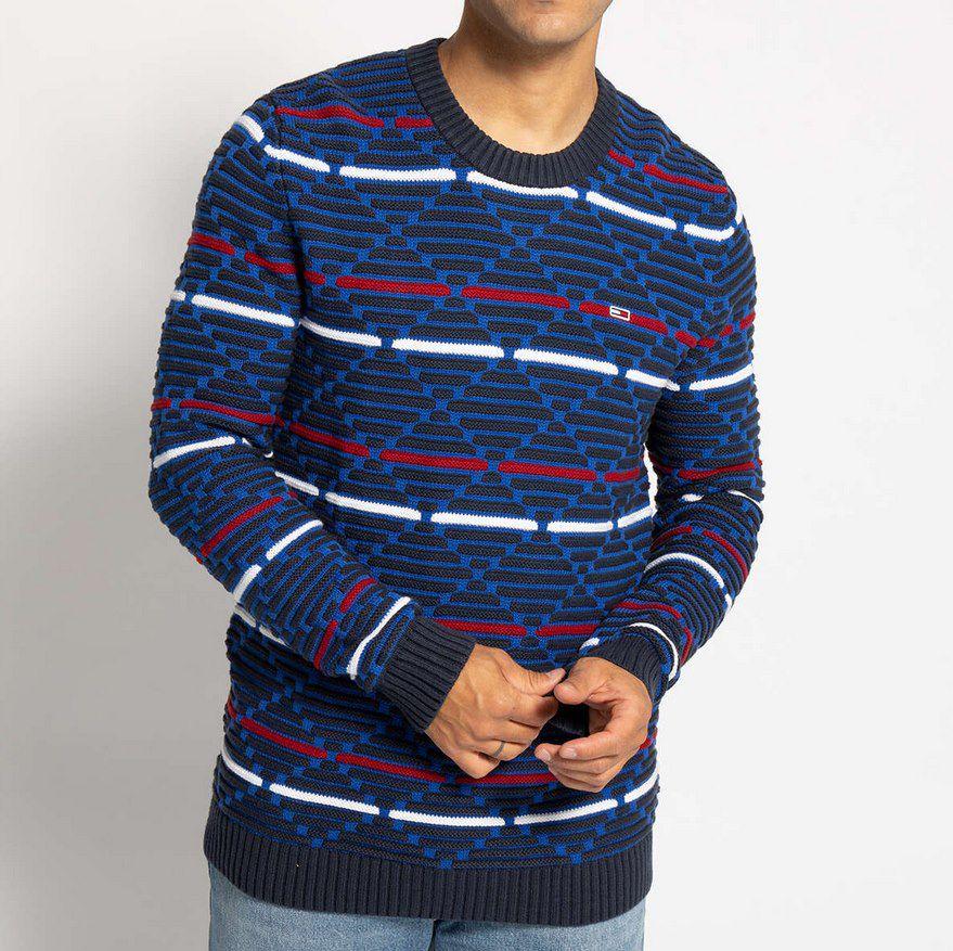 """Tommy Jeans Pullover """"Tjm Pattern Mix"""" mit strukturiertem Muster für 39,90€ (statt 74€)"""