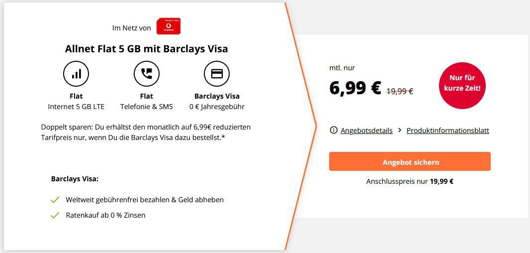 Crash Vodafone Allnet Flat mit 5GB LTE + kostenlose Barclay VISA Karte für 6,99€ mtl.