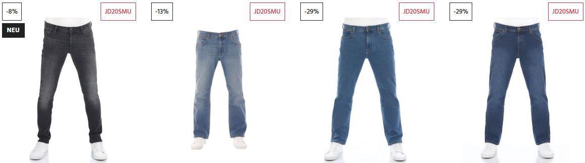 Jeans Direct 20% auf Reduzierte Auswahl   z.B. Jack & Jones Blue Denim 612 Jeans für 43,96€ (statt 60€)
