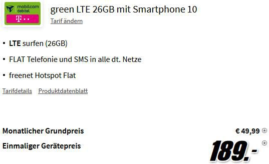 Apple iPhone 13 mit 128GB für 189€ + Telekom Allnet Flat mit 26GB LTE für 49,99€ mtl.
