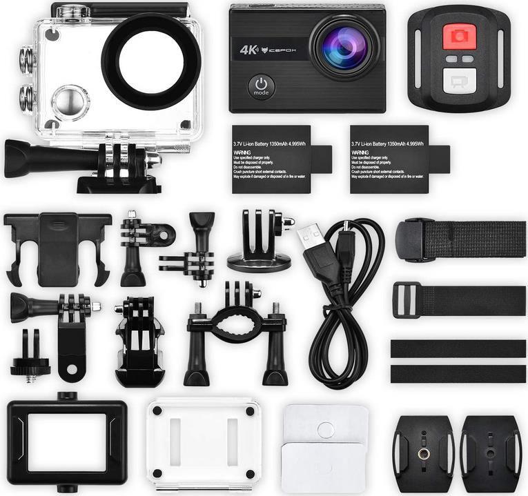 Exprotrek Action Cam 4K   20MP Kamera 170 ° Ultra Weitwinkel für 43,99€ (statt 110€)
