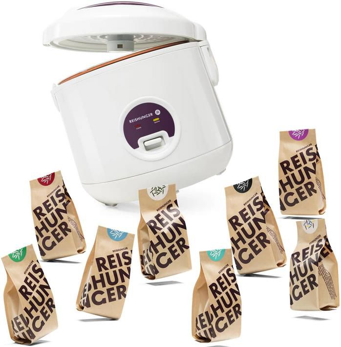 Reishunger Reiskocher 500W 1,2L + 8x 200g Reis in verschiedenen Sorten für 29,99€ (statt 40€)