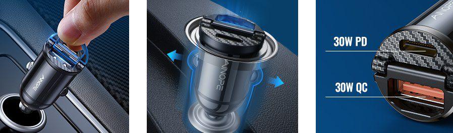 Ainope Zigarettenanzünder 30W USB Ladegerät mit USB & USB C Port sowie PD & QC 3.0 für 7,99€ (statt 16€)   Prime