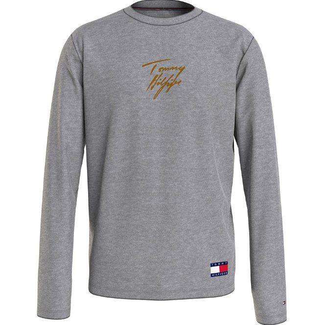 Tommy Hilfiger Lounge-Langarmshirt in Grau mit Font Print für 31,92€ (statt 40€)