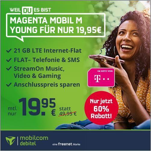 Letzte Chance! 🔥 Telekom Tarif mit 21GB LTE (300Mbit/s) + Allnet Flat + StreamOn für 19,95€ mtl.   bis 27 Jahre