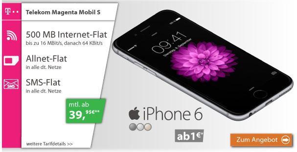 iphone 6 ab 29 telekom magenta mobil s mit allnet sms. Black Bedroom Furniture Sets. Home Design Ideas
