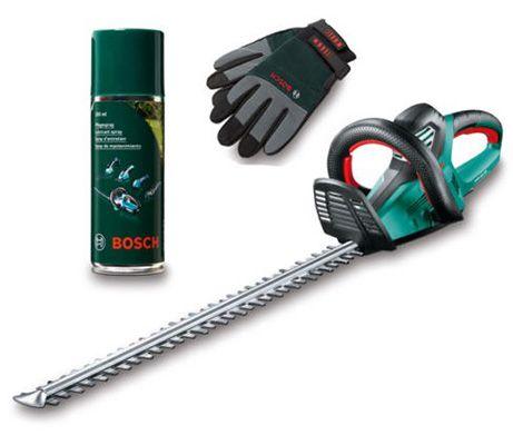 bosch ahs 70 34 heckenschere pflegespray und handschuhe f r 159 90. Black Bedroom Furniture Sets. Home Design Ideas