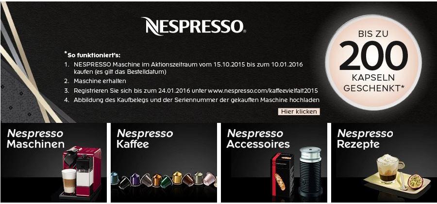 nespresso aktion maschine kaufen und 200 kapseln gratis. Black Bedroom Furniture Sets. Home Design Ideas