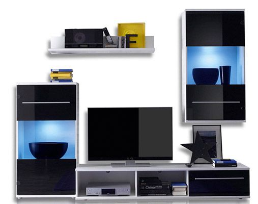 black magic wohnwand mit led beleuchtung f r 149 99 statt 245. Black Bedroom Furniture Sets. Home Design Ideas