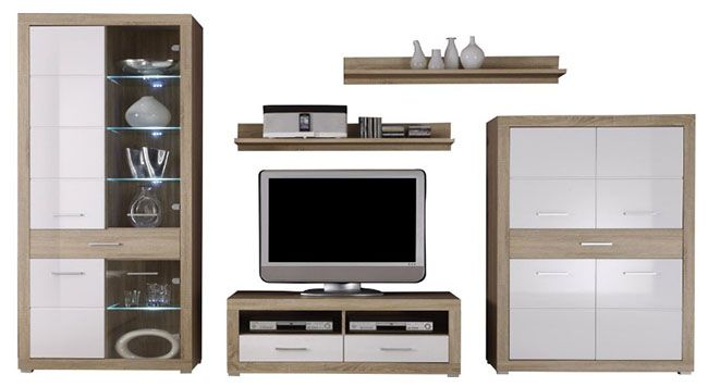 bega fiesta 3 anbauwand eiche sonoma dekor led. Black Bedroom Furniture Sets. Home Design Ideas