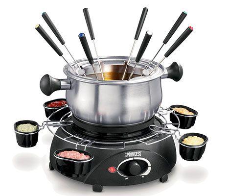elektrisches edelstahl fondue mit 6 so ensch lchen 8 fonduegabeln ab 17 67 statt 38. Black Bedroom Furniture Sets. Home Design Ideas
