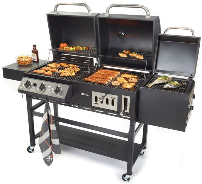 el fuego cherokee 3 in 1 smoker gas holzkohle kombigrill f r 367 95. Black Bedroom Furniture Sets. Home Design Ideas