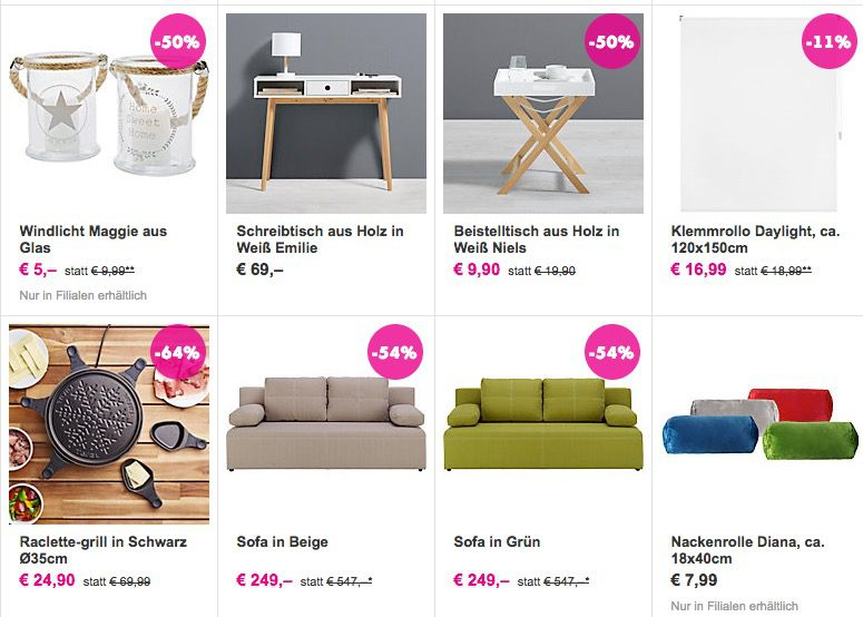 m max sale g nstige m bel deko wohnaccessoire tipp. Black Bedroom Furniture Sets. Home Design Ideas